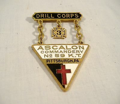 Ascalon Commandery Enamel Pin Badge #59 Pittsburgh Knights Templar SD Childs Co.