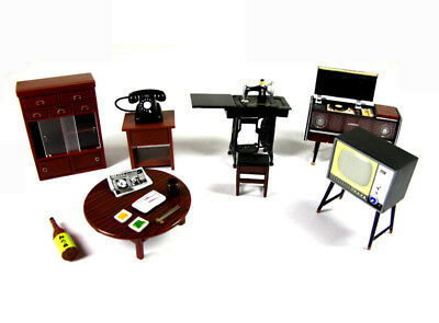 6pcs Dollhouse Miniature Japan Furniture set TV Record player Cupboard Telephone