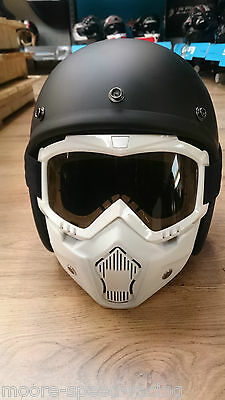 White Goggle & Mask for Open Face Motorcycle Helmet visor shield guard goggles