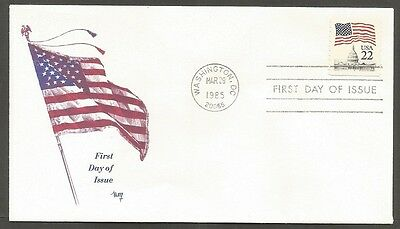 Us Fdc 1985 Flag 22C Stamp Coil #2115 Marg Cachet First Day Of Issue Cover