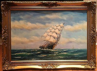 OIL PAINTING LARGE mid 20th Century Wonderful Ship DETAILED PIECE GOLD FRAME