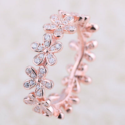 New Sterling Silver Dazzling Daisy Band Ring S925 Rose Gold Plated