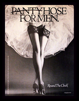 1987 Round the Clock Hosiery Ad - Nylons - Seams - Thigh High - Stockings