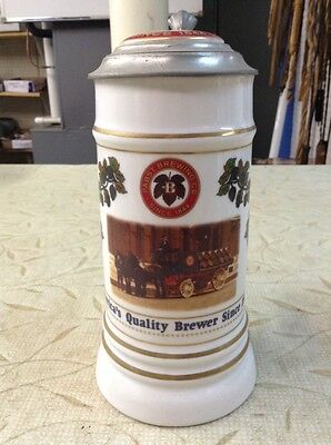 VINTAGE ANTIQUE GERMANY LIDDED BEER STEIN HOUSE OF WIEBRACHT Pabst Blue Ribbon