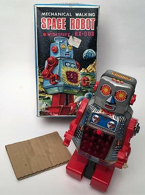 Vintage Noguchi  Rx-008 Mechanical Tin  Wind Up Space Robot Nmib!!