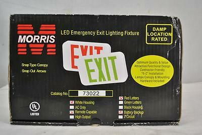 Morris 73022 LED Exit Sign, White Housing, Battery Backup, Remote Capable -New!