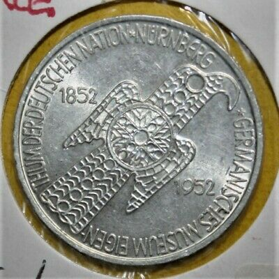Germany 5 Mark 1952D Brilliant Uncirculated Silver Coin - Nuremberg Museum *RARE