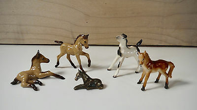 Vintage Miniature Horse Lot Hagen Renaker Mustang Colt Tail Up Metal Lying Down