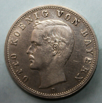 Germany - Bavaria 2 Mark 1908-D Almost Uncirculated Silver Coin - King Otto