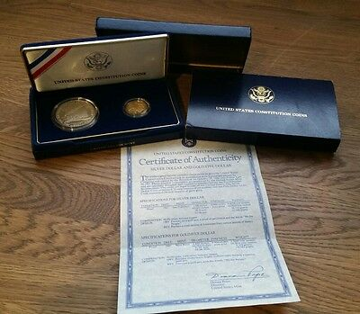 1987 Constitution Proof Silver $1 and Gold $5 Commemorative Coin Set