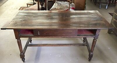 Antique English Country Farm Dining Table Desk | 19th cent. | Gorgeous Patina