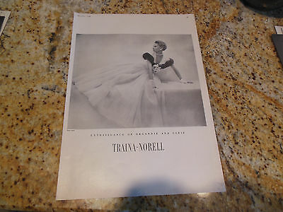 Original Vintage 1948 Traina-Norell Organdie Sable Extravagance Gown Dress Ad