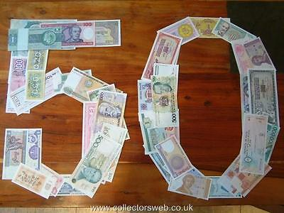 50 x MINT INTERNATIONAL GENUINE BANKNOTES PAPER MONEY UNC EXEMPT CURRENCY
