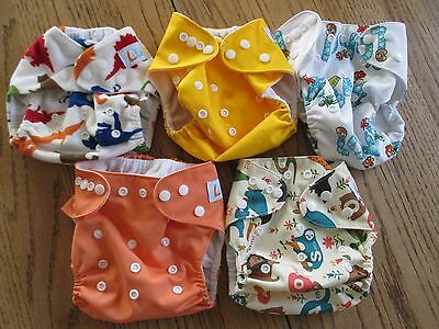 Lbb Cloth Diaper Cover Lot Of 5, Pocket Style, Double Snaps, Euc