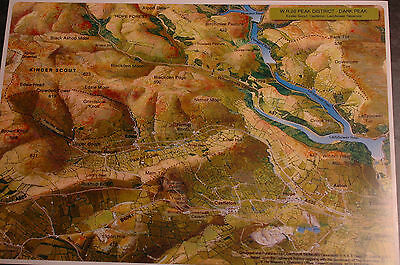 3D Aerial Panoramic A4 Fell Walking Map Peak District No20 Unusual Gift Idea