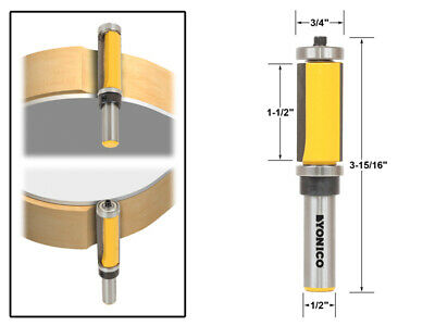 "1-1/2"" Flush Trim Top and Bottom Bearing Router Bit - 1/2"" Shank - Yonico 14986"