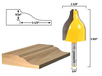 "Ogee & Bead Vertical Raised Panel Router Bit - 1/4"" Shank - Yonico 12148q"