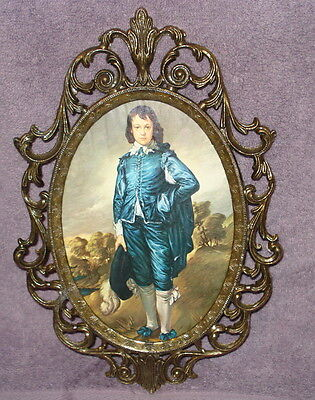 Italian Ornate Brass Frame Picture of Blue Boy Blueboy