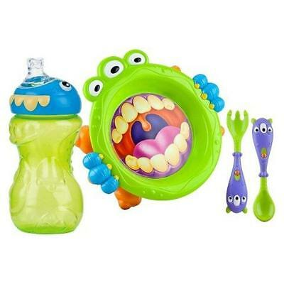 Nuby 3pc Monster Baby Feeding Set Phthalate PVC BPA Free Baby No Spill