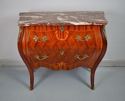 Antique French Louis Style Mahogany Bombe Commode Chest with Marble Top