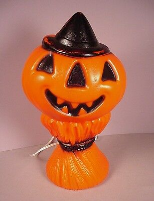 "Vintage Halloween plastic Light 14"" Pumpkin Hay Sheath  blow mold 1969 Empire #2"