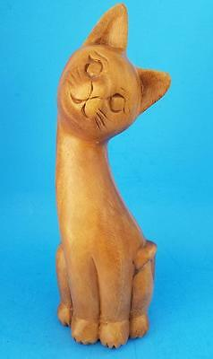 "Vintage Carved Wooden Cat Statue Figurine 12"" Tall"