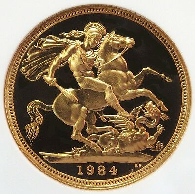 1984 Gold Great Britain Sovereign Coin Ngc Proof 69 Ultra Cameo