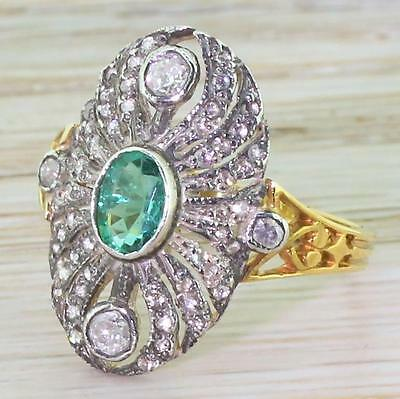 0.50ct EMERALD & 0.76ct OLD CUT DIAMOND CLUSTER RING - Yellow Gold
