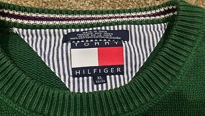 Vintage Men's Tommy Hilfiger Green 100% Cotton Sweater Size Extra Large.