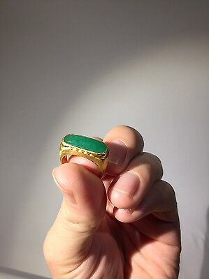 Antique Chinese Estate 22K Gold NICEST Apple Green Icy Jade Ring
