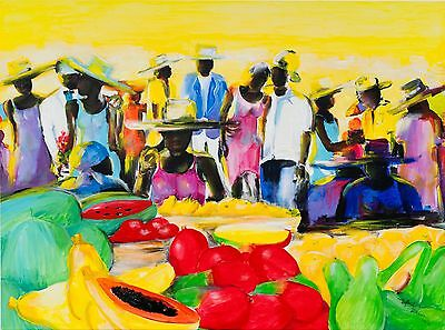 """Original Acryl on Canvas by Jamaican Walford Williams - Signed - 46"""" X 34"""" -"""