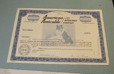 American Amicable Life Insurance Company Stock Certificate Alabama Collie Baby
