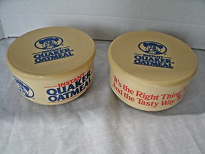 Vintage WHIRLEY Lot of 2 Sets INSTANT QUAKER OATMEAL Bowls With Lids 1988 USA