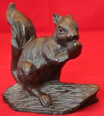 Decorative Vintage Red Mill Hand-carved Wood Squirrel on a Log
