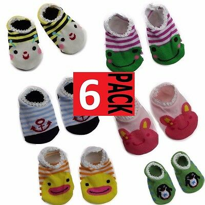 6 x BABY SOCKETTES Kids Toddler Cotton Socks Anti Slip Grip Boys Girls SALE