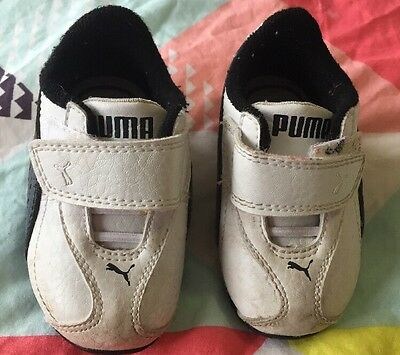 Baby Puma Shoes Sneakers Runners Size US 4 White With Black Detail