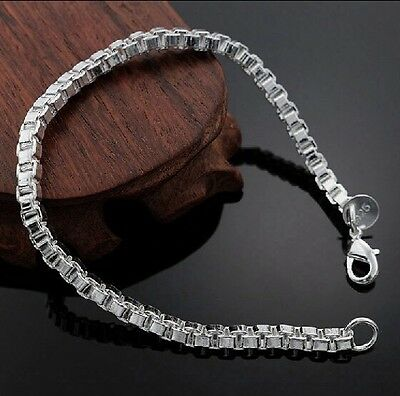 925 Sterling Silver Plated 4mm Box Bracelet Chain Bangle Ladies Women Jewellery