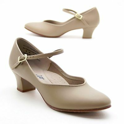 Capezio Ladies 9 M Mary Janes Theatricals Taupe/Tan Dance Character Leather Sole