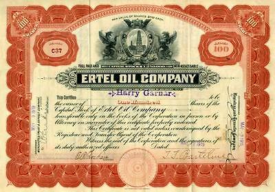 1919 Ertel Oil Stock Certificate