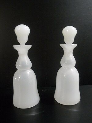 Antique Vintage Pair White Opaline Glass Cologne Perfume Bottles with Stopper