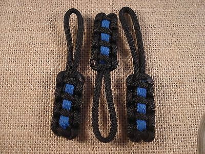 "Pack of Three 3 1/2"" Paracord Zipper Pull (Thin Blue Line) [Combined Shipping]"