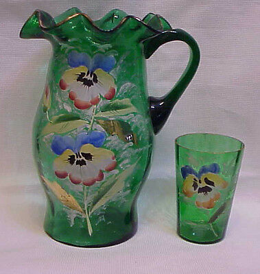 Beautiful Victorian Hand-Painted Enameled Flowers Picher and Tumbler Bedroom Set