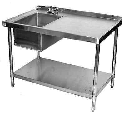 30x72 All Stainless Steel Kitchen Table with Prep Sink on Left