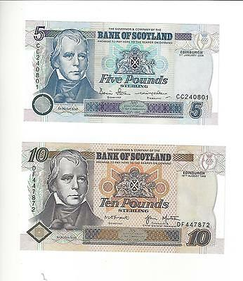 Scotland Bank Of Scotland 5 And 10 Pounds Old Type 2006/1998 Pair  Choice Unc