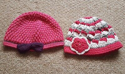 Bandle Girls 2x Wool Knitted Handmade Beanie Beret Pink Hats Age: 2-4 Years