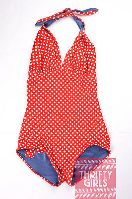 Vintage Red Polka Dot One-Piece Bathing Suit 60's Reversible Size XS