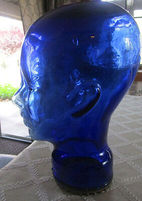 Cobalt Blue Glass Mannequin Head - Wig - Hat Display
