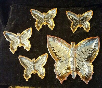 Vtg Jeannette Marigold Carnival Glass Butterfly Candy/Serving Dish Full 5 PC Set