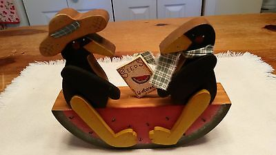 Handmade Wood Prim Crows Sitting on Watermelon SeeSaw Country Decor
