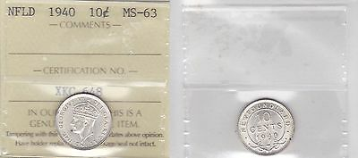 1940 ICCS MS63 10 cents Newfoundland NFLD NF ten dime silver